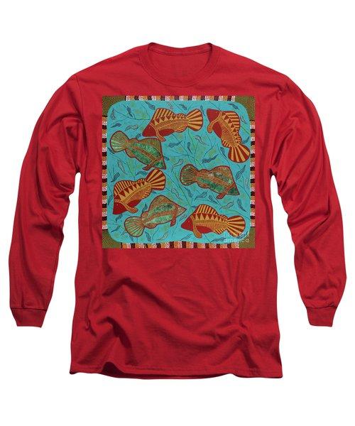 Large Barramundi Swimming  Long Sleeve T-Shirt