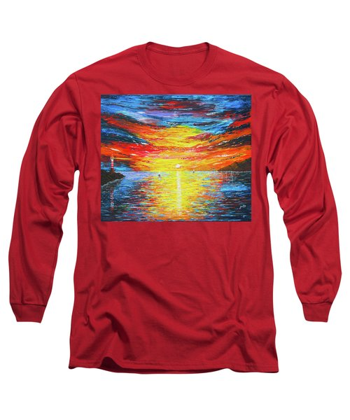 Long Sleeve T-Shirt featuring the painting  Lighthouse Sunset Ocean View Palette Knife Original Painting by Georgeta Blanaru