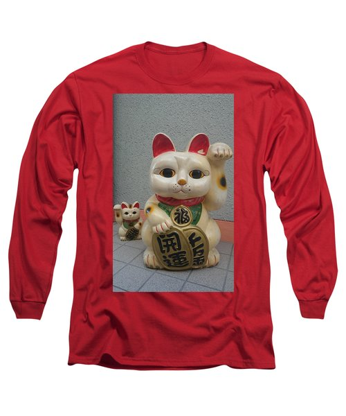 A Figure Of A Beckoning Cat, Called 'manekineko' Long Sleeve T-Shirt