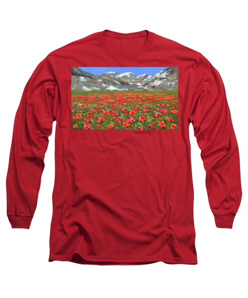 Mountain Poppies  Long Sleeve T-Shirt by Dmitry Spiros