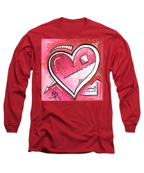 Original Mini Pop Of Love Heart Painting Pop Art By Megan Duncanson Bubblegum Pink Long Sleeve T-Shirt