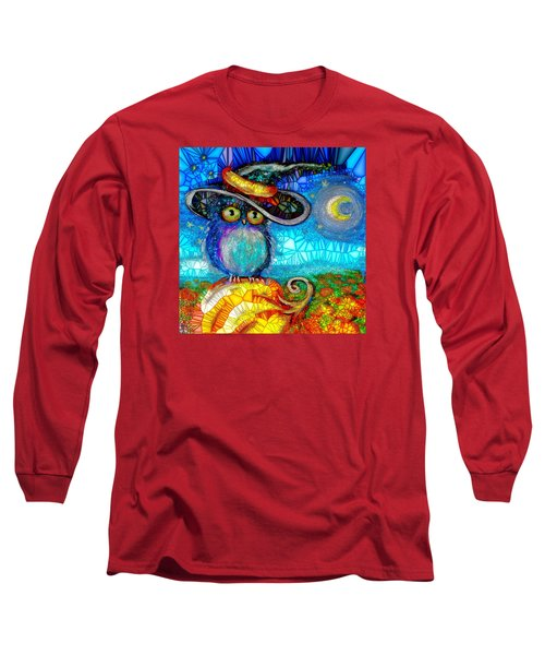 Long Sleeve T-Shirt featuring the digital art Owl Scare You by Agata Lindquist