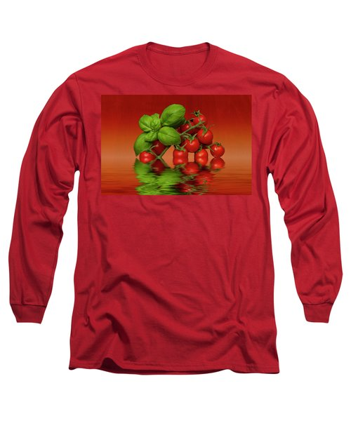 Long Sleeve T-Shirt featuring the photograph Plum Cherry Tomatoes Basil by David French