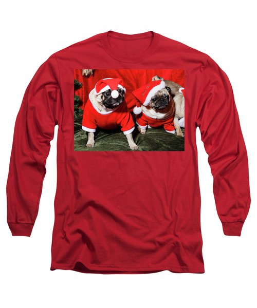 Pugs Dressed As Father Christmas Long Sleeve T-Shirt