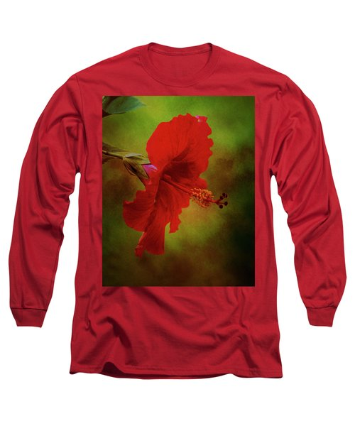 Red Hibiscus Art Long Sleeve T-Shirt