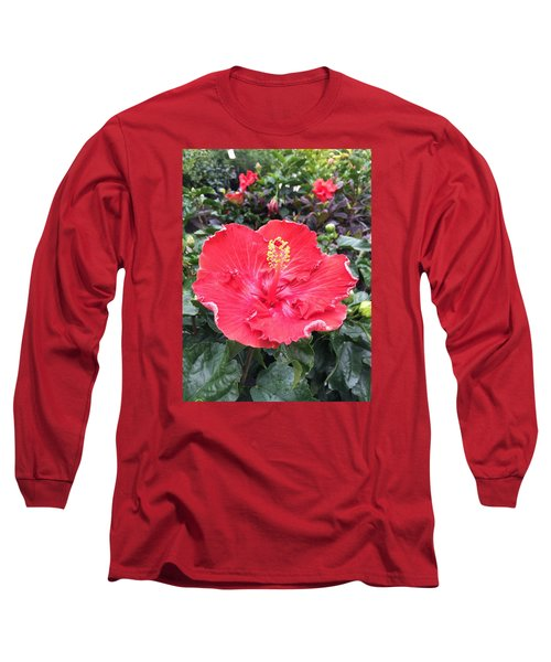 Red Hibiscus Long Sleeve T-Shirt by Kay Gilley
