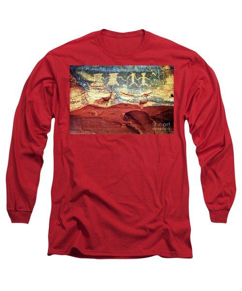 Red Rock Canyon Petroglyphs Long Sleeve T-Shirt by Jim And Emily Bush