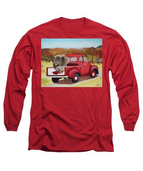 Ridin' With Razorbacks 2 Long Sleeve T-Shirt by Belinda Nagy
