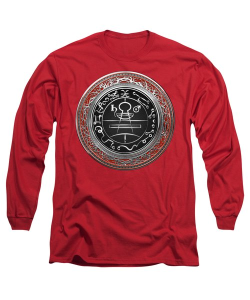 Silver Seal Of Solomon - Lesser Key Of Solomon On Red Velvet  Long Sleeve T-Shirt