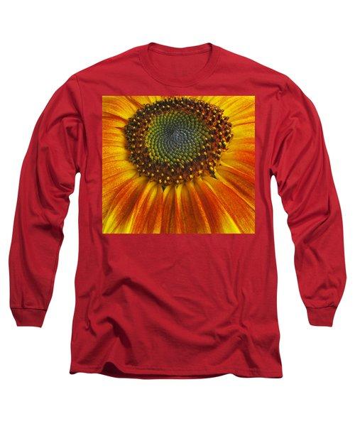 Long Sleeve T-Shirt featuring the photograph Sunflower Center by Elvira Butler