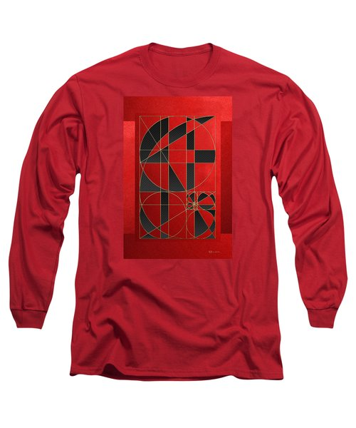 The Alchemy - Divine Proportions - Black On Red Long Sleeve T-Shirt by Serge Averbukh