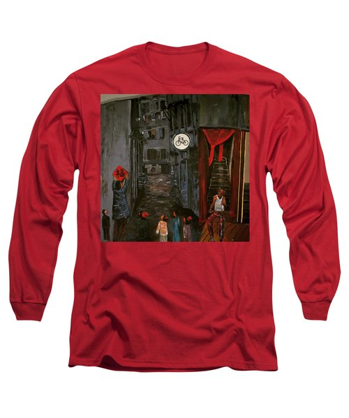 Long Sleeve T-Shirt featuring the painting The Backlane by Belinda Low