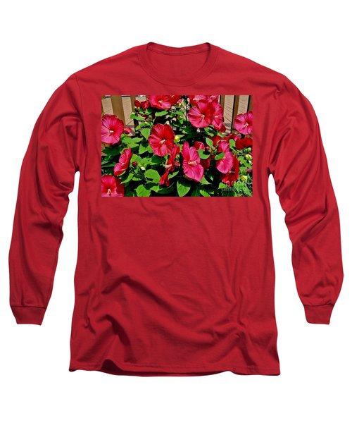 Tropical Red Hibiscus Bush Long Sleeve T-Shirt