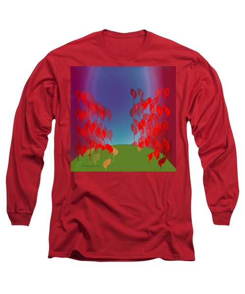 1218 - Red Flowers Long Sleeve T-Shirt by Irmgard Schoendorf Welch