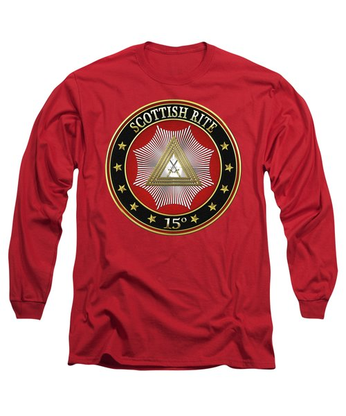 15th Degree - Knight Of The East Jewel On Red Leather Long Sleeve T-Shirt by Serge Averbukh
