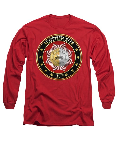 17th Degree - Knight Of The East And West Jewel On Red Leather Long Sleeve T-Shirt by Serge Averbukh
