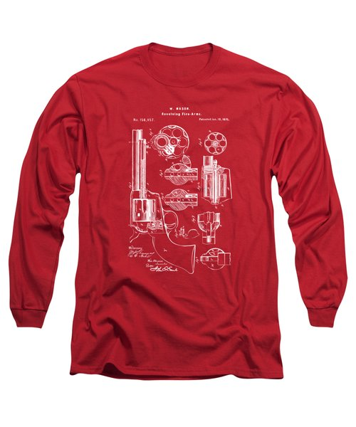 Long Sleeve T-Shirt featuring the drawing 1875 Colt Peacemaker Revolver Patent Red by Nikki Marie Smith