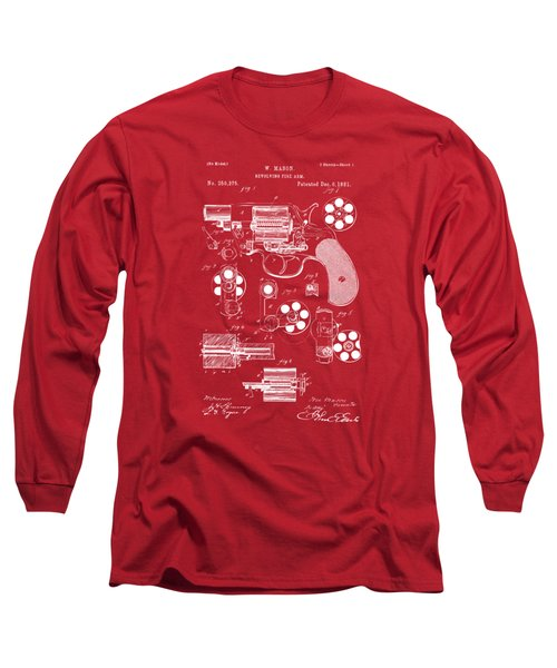 Long Sleeve T-Shirt featuring the drawing 1881 Colt Revolving Fire Arm Patent Artwork Red by Nikki Marie Smith
