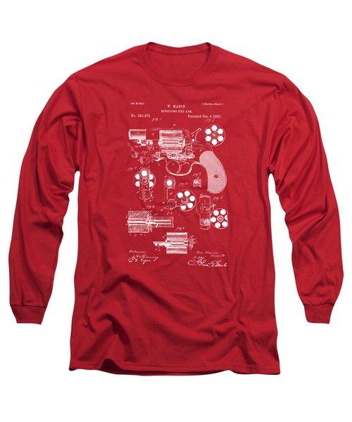 1881 Colt Revolving Fire Arm Patent Artwork Red Long Sleeve T-Shirt