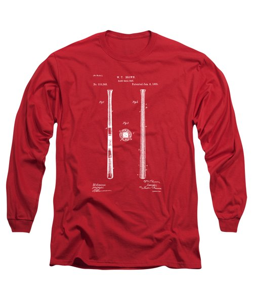 1885 Baseball Bat Patent Artwork - Red Long Sleeve T-Shirt by Nikki Marie Smith