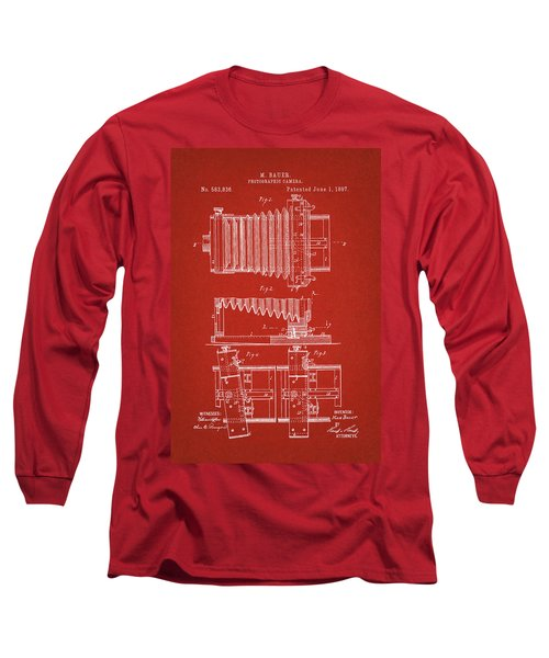 1897 Camera Us Patent Invention Drawing - Red Long Sleeve T-Shirt