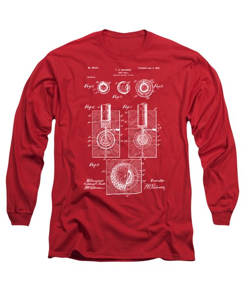 Long Sleeve T-Shirt featuring the drawing 1902 Golf Ball Patent Artwork Red by Nikki Marie Smith