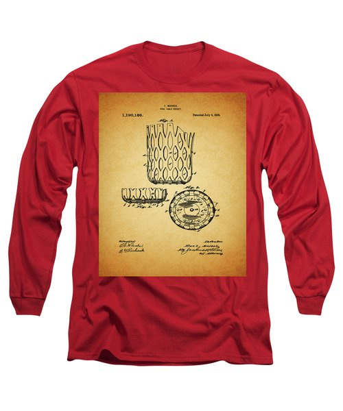 Long Sleeve T-Shirt featuring the mixed media 1916 Pool Table Pocket Patent by Dan Sproul