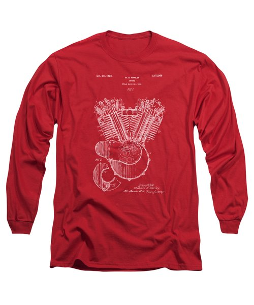 Long Sleeve T-Shirt featuring the digital art 1923 Harley Engine Patent Art Red by Nikki Marie Smith