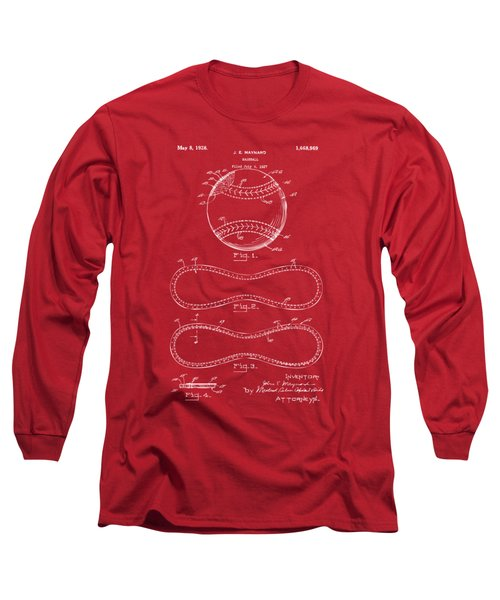 Long Sleeve T-Shirt featuring the drawing 1928 Baseball Patent Artwork Red by Nikki Marie Smith