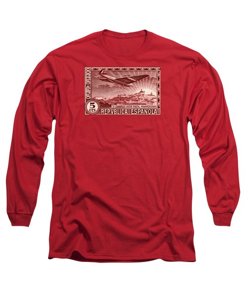1931 Airplane Over Madrid Spain Stamp Long Sleeve T-Shirt