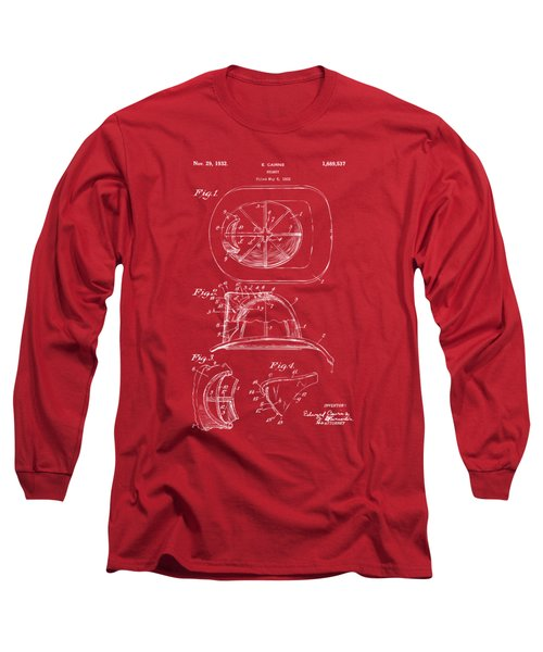 Long Sleeve T-Shirt featuring the drawing 1932 Fireman Helmet Artwork Red by Nikki Marie Smith