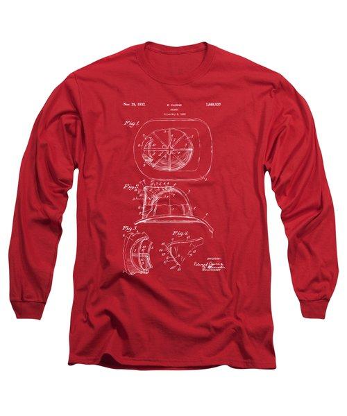 1932 Fireman Helmet Artwork Red Long Sleeve T-Shirt