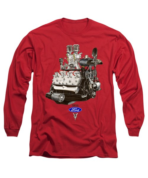 Long Sleeve T-Shirt featuring the painting 1934 Ford Flathead V 8 Tee Shirt by Jack Pumphrey