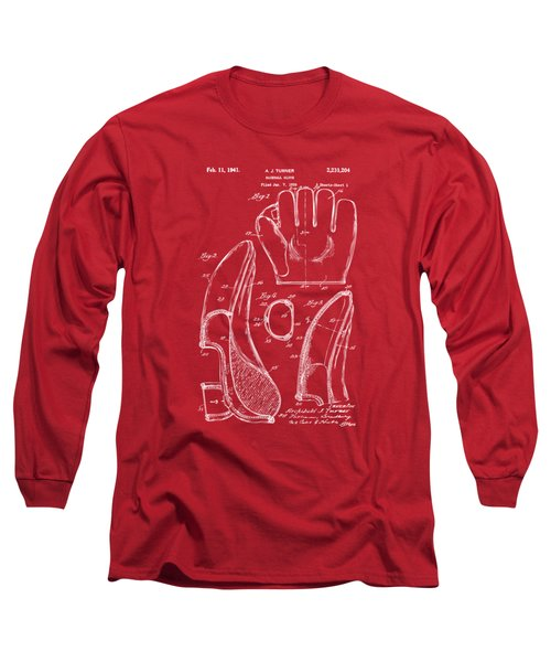 1941 Baseball Glove Patent - Red Long Sleeve T-Shirt by Nikki Marie Smith
