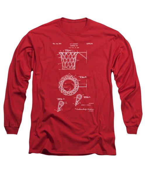 1951 Basketball Net Patent Artwork - Red Long Sleeve T-Shirt