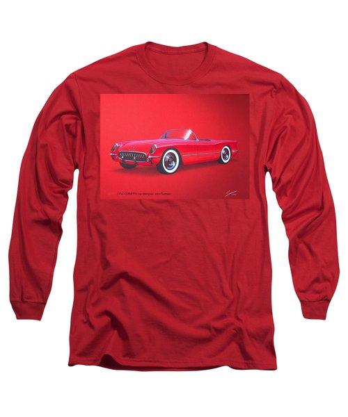 1953 Corvette Classic Vintage Sports Car Automotive Art Long Sleeve T-Shirt by John Samsen