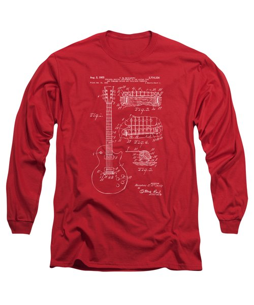 Long Sleeve T-Shirt featuring the drawing 1955 Mccarty Gibson Les Paul Guitar Patent Artwork Red by Nikki Marie Smith