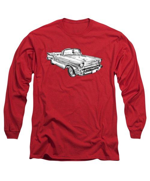 1957 Chevrolet Bel Air Convertible Illustration Long Sleeve T-Shirt by Keith Webber Jr