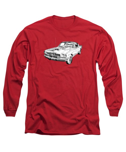 1966 Ford Mustang Fastback Illustration Long Sleeve T-Shirt