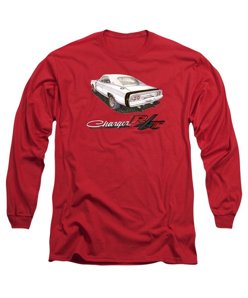Long Sleeve T-Shirt featuring the painting 1968 Dodge Charger Tee Shirt by Jack Pumphrey