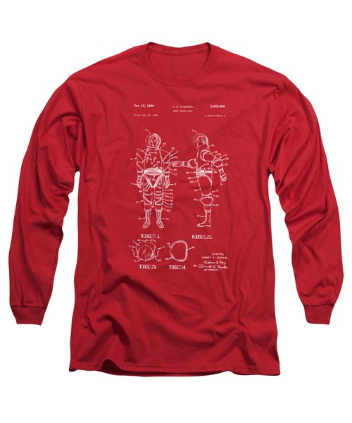 1968 Hard Space Suit Patent Artwork - Red Long Sleeve T-Shirt by Nikki Marie Smith