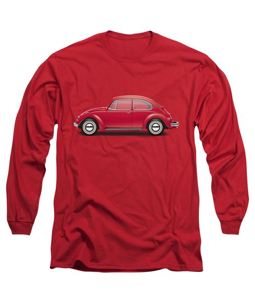 1968 Volkswagen Sedan - Royal Red Long Sleeve T-Shirt by Ed Jackson
