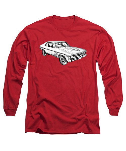 1969 Chevrolet Nova Yenko 427 Muscle Car Illustration Long Sleeve T-Shirt