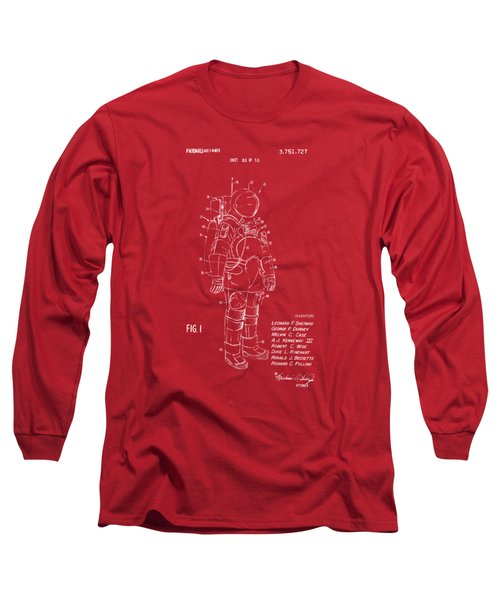 1973 Space Suit Patent Inventors Artwork - Red Long Sleeve T-Shirt by Nikki Marie Smith