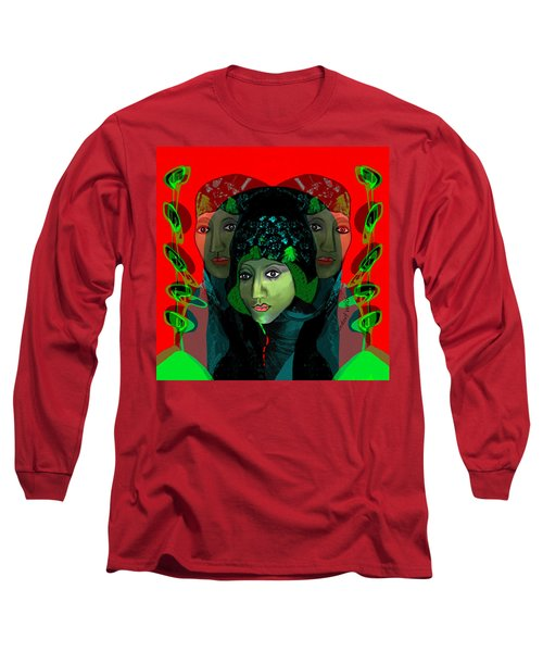 Long Sleeve T-Shirt featuring the digital art 1975 - Mystery Woman by Irmgard Schoendorf Welch