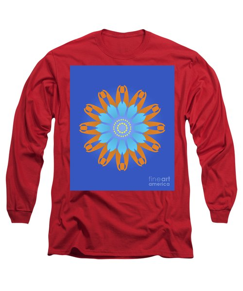 Abstract Blue, Orange And Yellow Star Long Sleeve T-Shirt