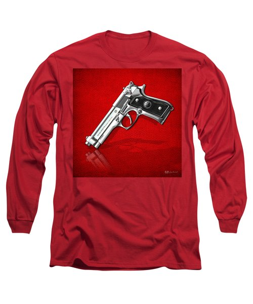 Beretta 92fs Inox Over Red Leather  Long Sleeve T-Shirt by Serge Averbukh