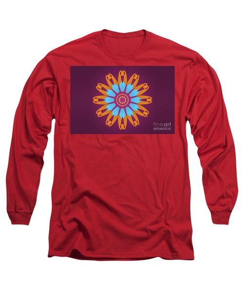 Landscape Purple Back And Abstract Orange And Blue Star Long Sleeve T-Shirt