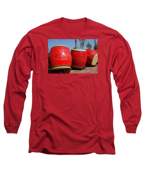 Large Chinese Drums Long Sleeve T-Shirt by Yali Shi