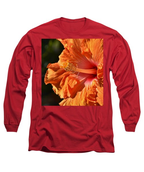 orange Hibiscus blossom Long Sleeve T-Shirt by Werner Lehmann